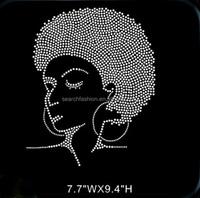 Afro Girl Rhinestone Transfer Wholesale,Iron on T- shirt sticker