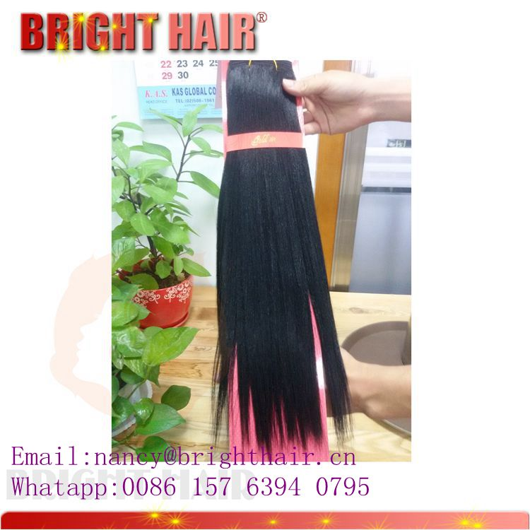 Synthetic straight hair natural black color long length