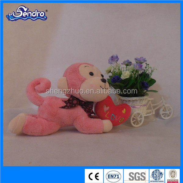 New soft toy plush animal monkey with heart for valentine's day gift,christmas soft toys