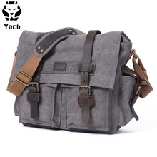 European vintage elegant design cotton canvas unisex shoulder messenger crossbody sling satchel bag