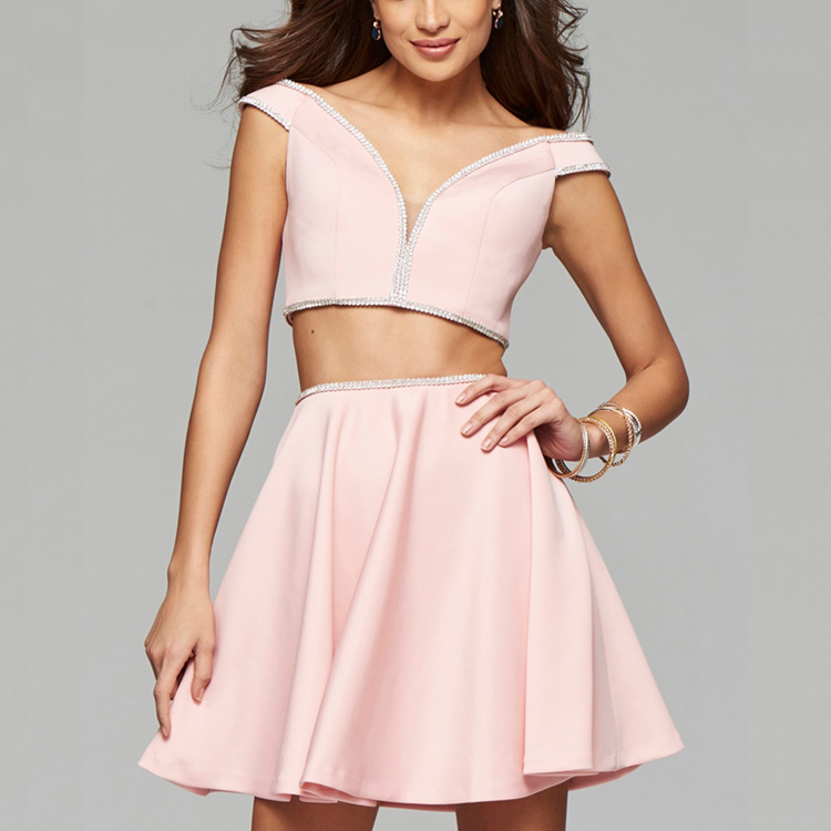 Girls Dress Names With Picture Sexy Two Piece Short Mini Porm Dress