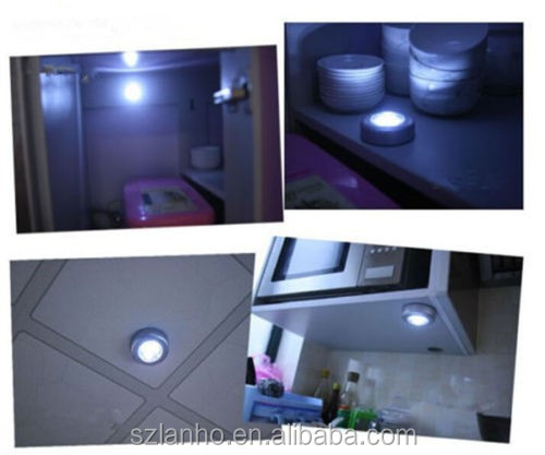 New 3 LED Battery Powered Wall Kitchen Closet Light Stick Tap Touch Lamp