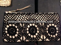 Thai handmade soft straw weave zip cosmetic/pencil case bag with Ponpons Fashionable and unique