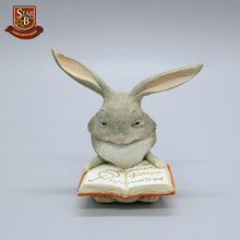 Wholesale resin craft garden animal statue rabbit read book figurine