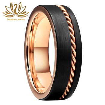 Tungsten Engagement Rings 8mm Center Grooved Gold Chain Loop Inlay Brushed Polished Edge