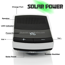 Hand free, solar panel charging, V2.1 Bluetooth Car Kit with rubber sucker
