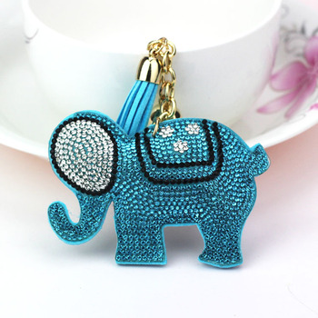 AP_10161 Good Quality 8 Color New Fashion Charm Key Chain Pendant Rhinestone Elephants Leather Tassel Keychain Wholesale