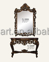 2069 golden antique finished hand carved wood console table with marble and mirror