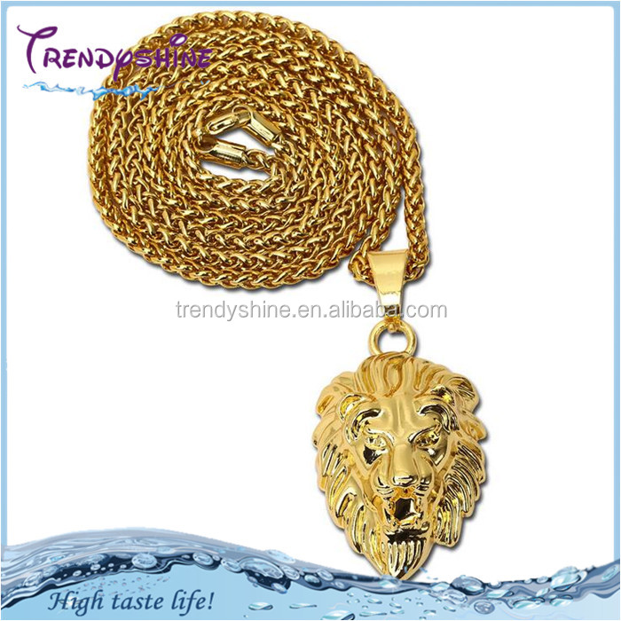 Chunky men's large lion head pendant golden necklace