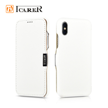 ICARER Side-Open Real Leather Phone Cover Case for iPhone 8