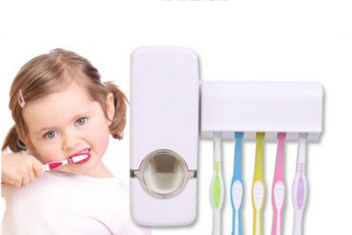 Automatic toothpaste pump dispenser with 5 toothbrush holder children toothpaste tube squeezer