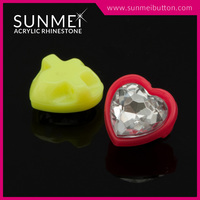 Heart Shape Opaque Neon Color Acrylic Loose Stone in Sewing Set