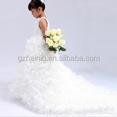Ball Gown Cathedral Train Flower Girl Dress 2017 baby girl party skirts children Guangzhou