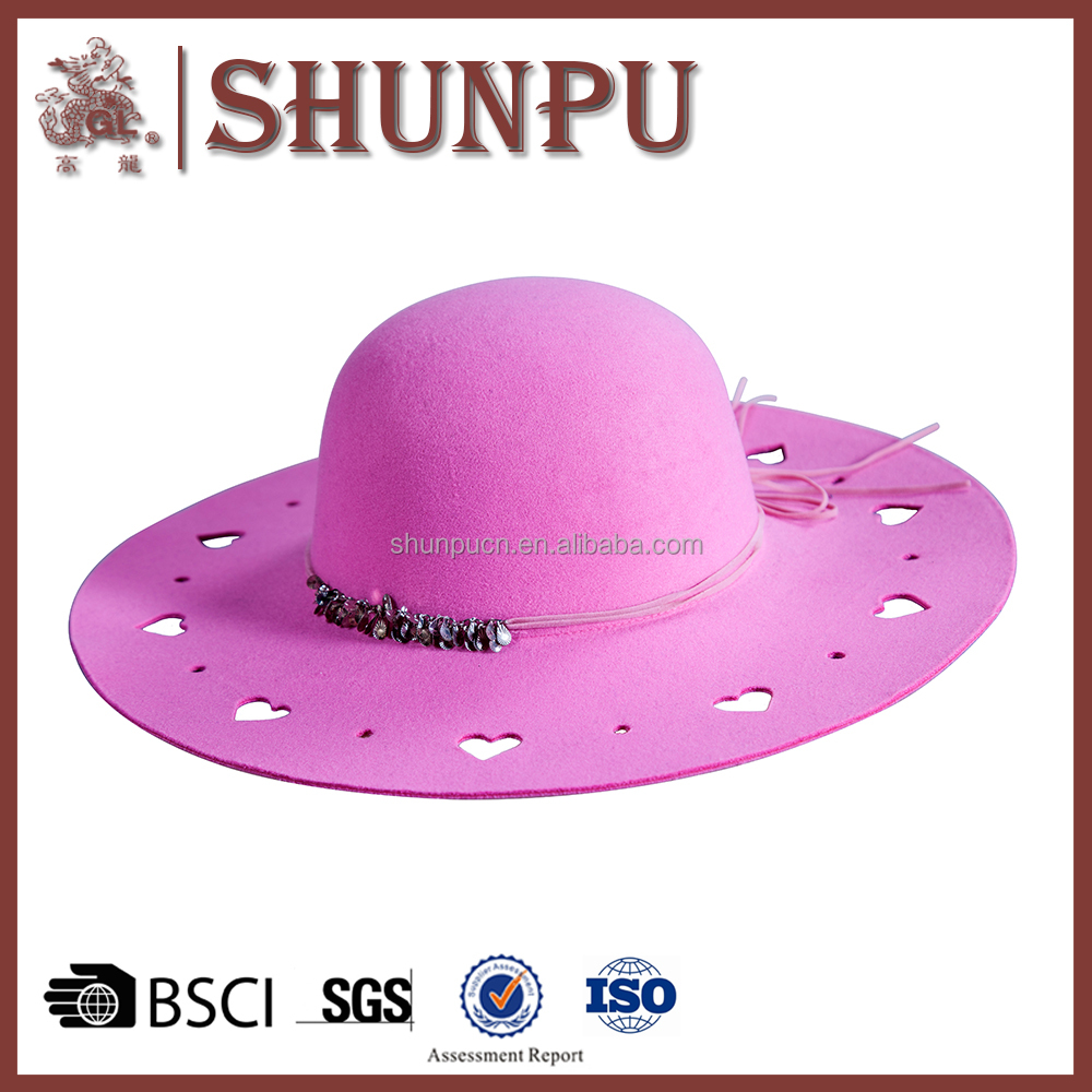 100% polyester felt high quality purple fancy cowboy hats