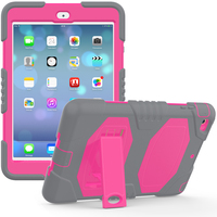 For iPad Mini 1/2 Silicone Hard Bumper Case Built-in-stand Shock Proof Case For iPad Mini 3