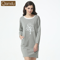 Qianxiu Gray Cheap Wholesale Price Long Ladies Cotton Nightshirt