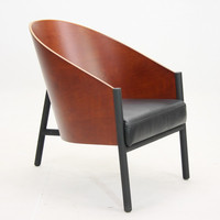 aniline leather costes chair wooden leisure armchair designed by PHILIPPE STARCK