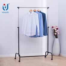 Single-pole metal clothing rack hanging display stand with wheels