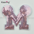 Wholesale high quality letter M reversible sequin embroidery patch WEFB-055