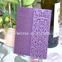 invitation card with lace, new china products for sale , laser cut paper purple wedding card invitation