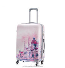 abs printed hard shell luggage trolley case bags trolley for distributors