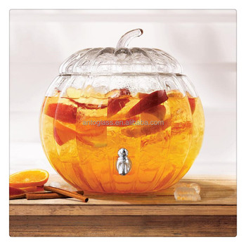 2.2Gal Mouth Blown Pumpkin Shape Glass Drink Dispenser Glass Beverage Jar