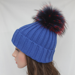 Myfur Wholesale Wool Ribbed Knitted Hat with Multi Color Raccoon Fur Pom Poms