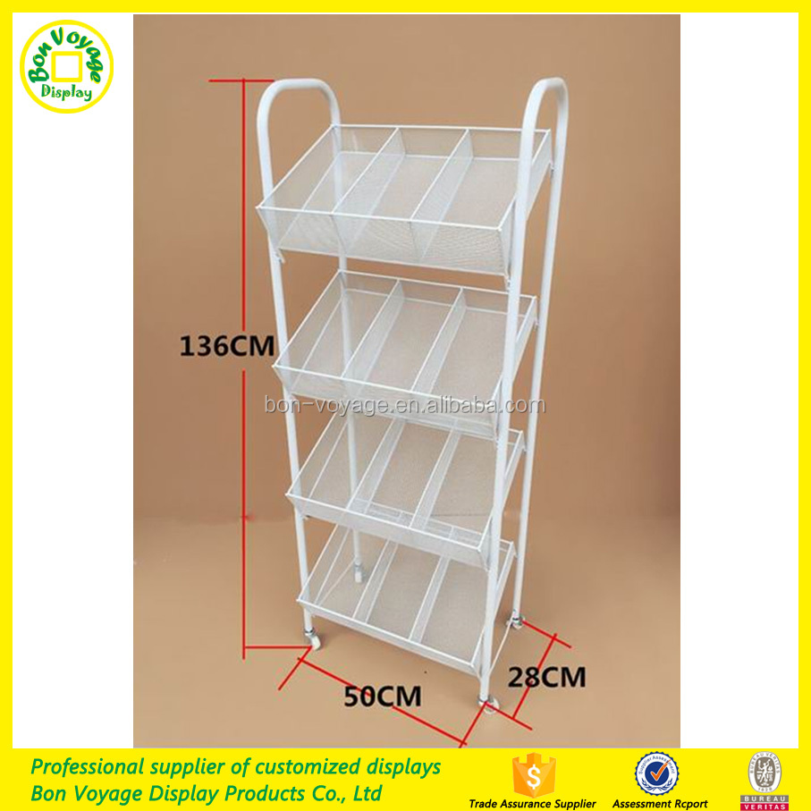 Easy collapsible free standing metal wire display rack with basket