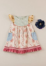 Latest Casual Dress flutter sleeve Childrens Boutique Clothing Girls pearl Dress