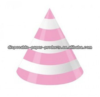 child-size paper party cone hats Pink and White Stripes Party Hats Birthday Party Supplies
