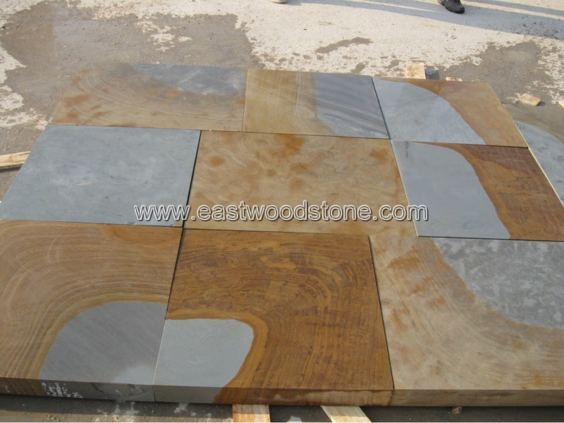 multicolor rainbow sandstone paving floor tile for exterior