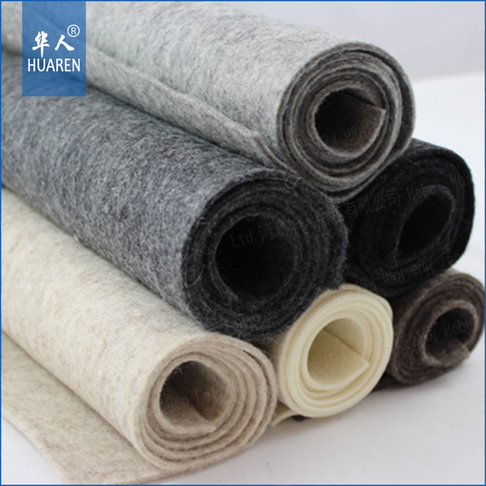 density from 0.1g /cm3 to 0.5g/cm3 nonwoven fabric 3mm to 50mm thickness merino 100% wool felt for industiral
