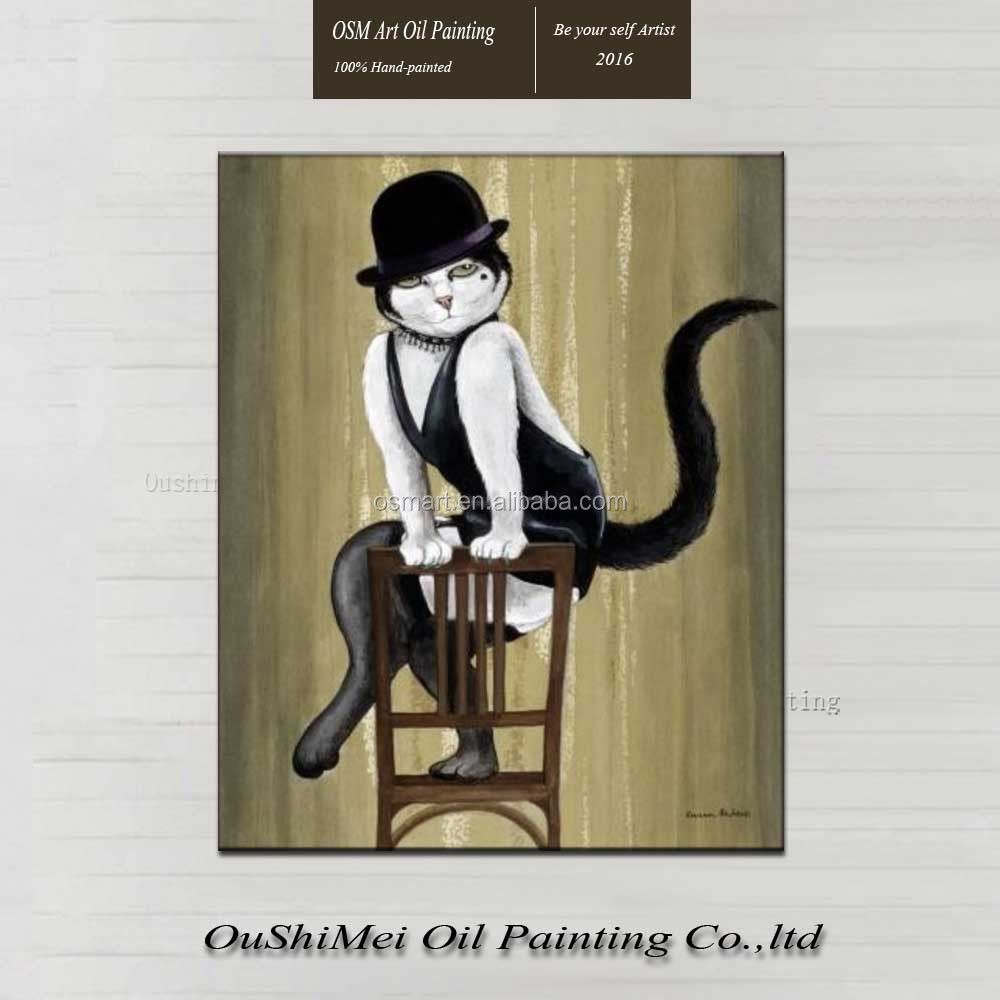 high quality classical enchanting sexy skirt with shoulder-straps cat wearing hat sitting on a stool oil painting in canvas