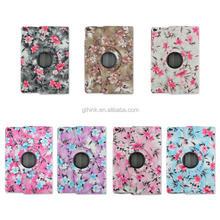 Pretty fashion azalea flower case for Ipad air stand smart cover 360 full revolve pu leather floral funda for Ipad56