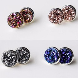2015 Hot Sale Wholesale Colored Mini Chunky Druzy Stone Jewelry Stud Earrings