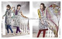 Hand stone work salwar kameez on white cotton clothes for womens 2011