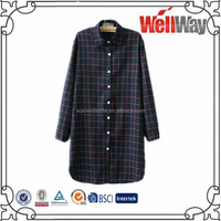 Autumn new big yards long section loose plaid casual shirt blouse tops for women ladies