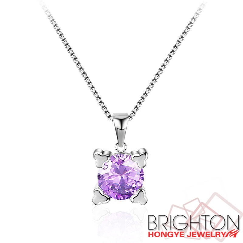 Women necklace in 925 sterling silver jewlery with purple zircon 5-y0031