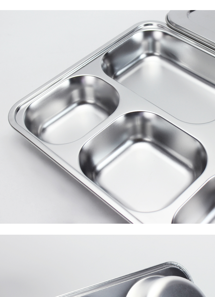 Wholesale fast food restaurant canteen school lunch serving tray stainless steel compartment plates