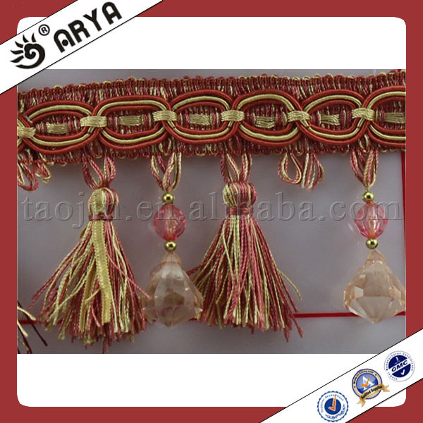 Colorful Home Textile Beaded fringe Tassel for Curtains Accessory