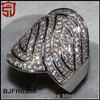 Micro Paved Zircon Silver Over Copper Overlay Band Ring Shangjie Jewelry