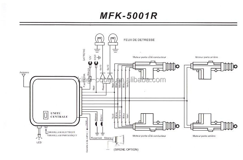 Key or button control MKF 5001 Central door lock system, 2 or 4 door system