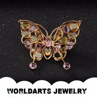 Fashion Cheap Wholesale Jewelry, Alloy Rhinestone Butterfly Brooch, Fashion Brooch