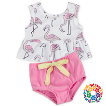 Wholesale Flamingo Beachwear Swimwear Clothes 2Pcs Ruffle Girls Swimsuit