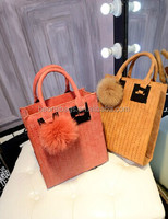 cute fashion design reusable suede leather ladies shopping bag