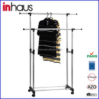 Double rail stainless steel adjustable garment rack revolving rotating telescopic stand clothes drying rack manufacturer