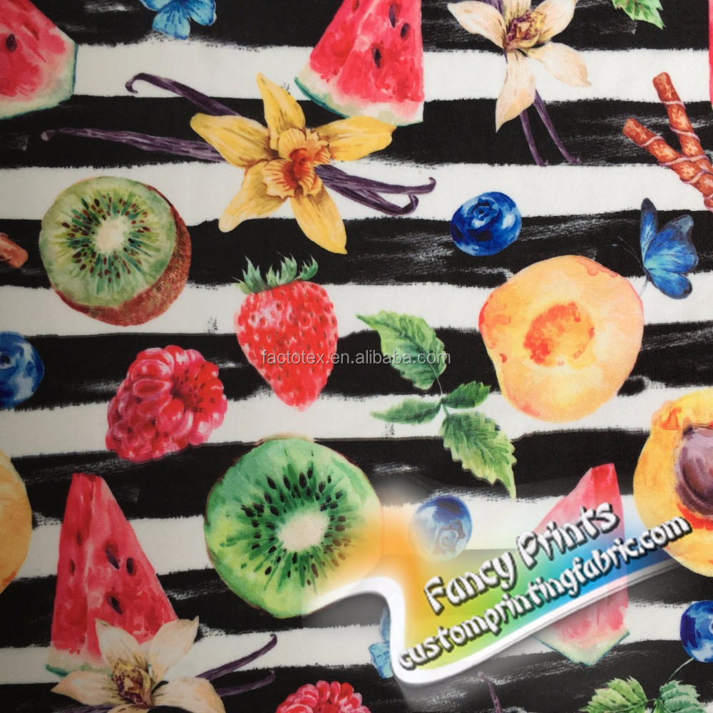 A variety of fruits design custom warp knittting printed swimming fabric