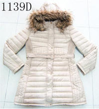 Fur lining long style jacket lady winter coat with hood