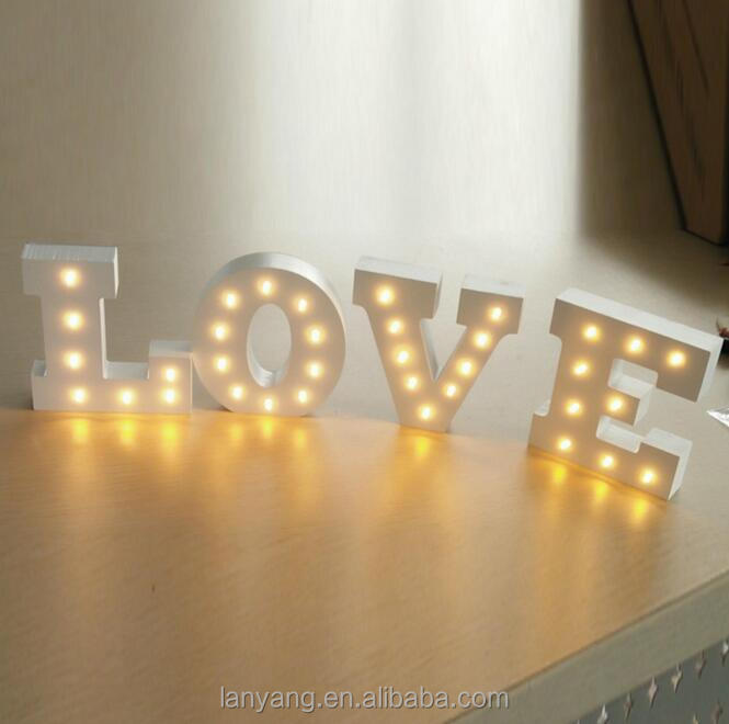 ALPHABET LETTER LIGHTS LED LIGHT UP WHITE <strong>WOODEN</strong> LETTERS STANDING / HANGING