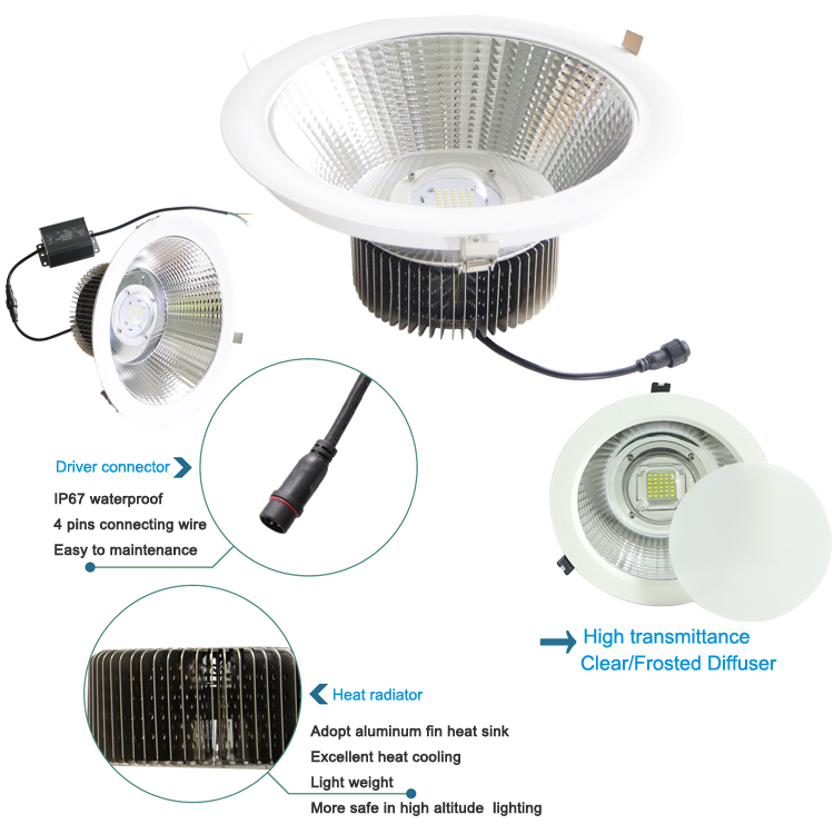 8 inch 10 inch downlight 60W 70W 80W Retrofit LED Recessed Lighting Fixture